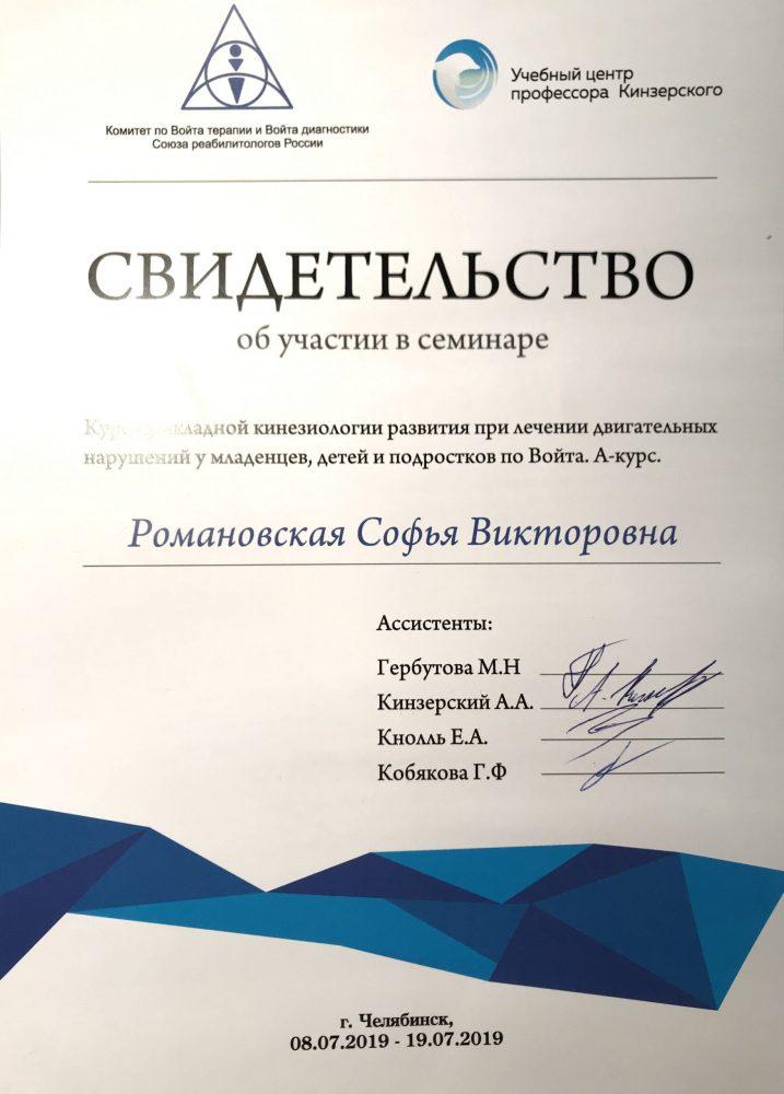 Романовская сертификат Войта 2